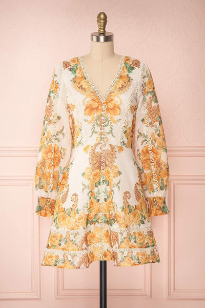 Kimanie Yellow Floral Patterned A-Line Dress | Boutique 1861