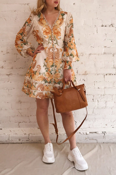 Kimanie Yellow Floral Patterned A-Line Dress | Boutique 1861 model look