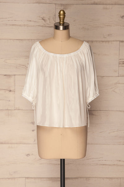 Kimmeria White Off-Shoulder Loose Top | La Petite Garçonne 1