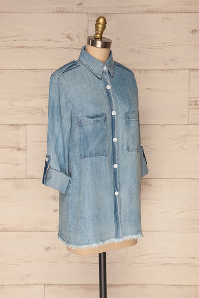 Kingston Light Blue Long Sleeved Denim Shirt | La Petite Garçonne 5