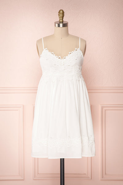 Kisarazu White Embroidered Lace Flared Summer Dress | Boutique 1861