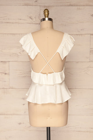 Kitchevo White Woven Open Back Crop Top | La Petite Garçonne 5