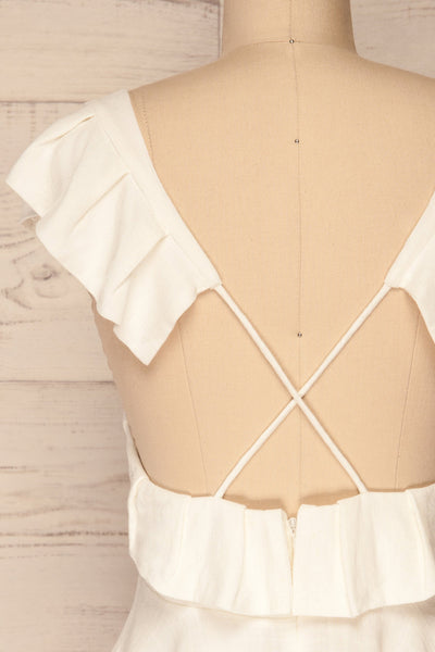 Kitchevo White Woven Open Back Crop Top | La Petite Garçonne 6