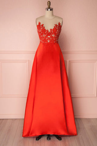 Kiyane Red Silky A-Line Maxi Prom Dress front view | Boutique 1861
