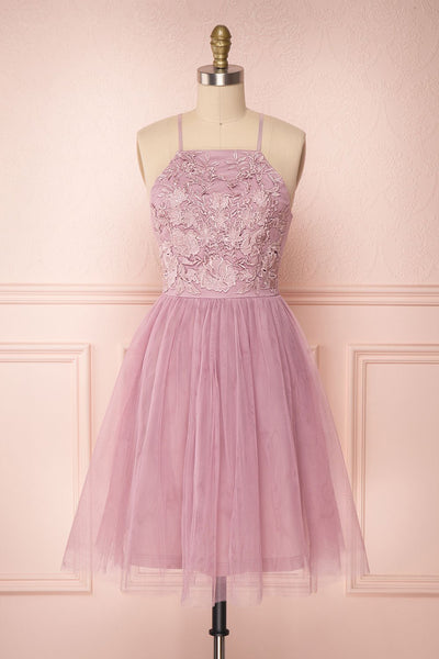 Kiyosu Figue Purple Tulle Halter Prom Dress | Boutique 1861