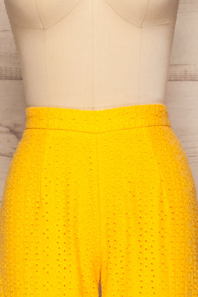 Klobuck Yellow Openwork Straight Leg Pants | La petite garçonne front close up