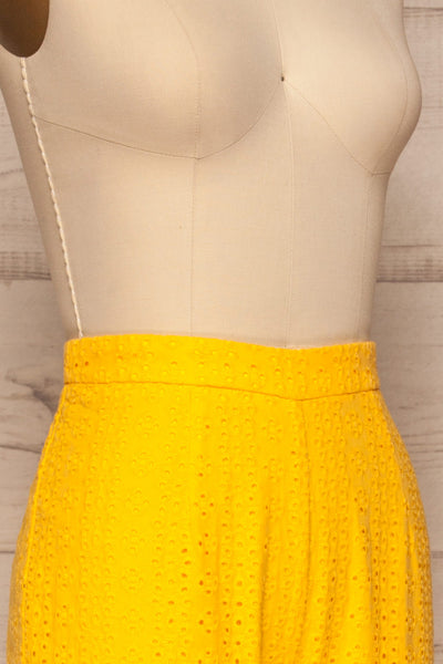 Klobuck Yellow Openwork Straight Leg Pants | La petite garçonne side close up