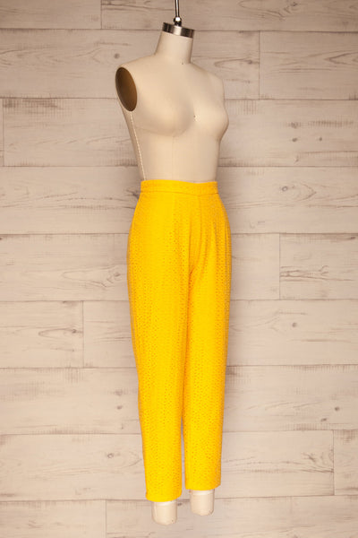 Klobuck Yellow Openwork Straight Leg Pants | La petite garçonne side view