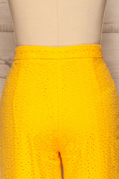 Klobuck Yellow Openwork Straight Leg Pants | La petite garçonne back close up