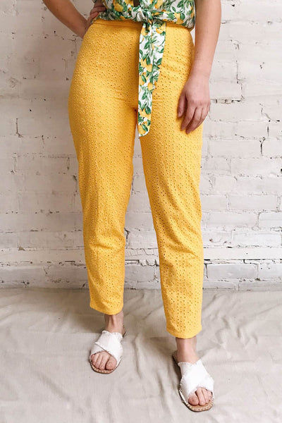 Klobuck Yellow Openwork Straight Leg Pants | La petite garçonne model close up