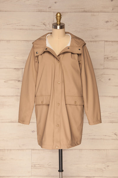 Klodzko Beige Wide Hooded Rain Coat | La petite garçonne front view open