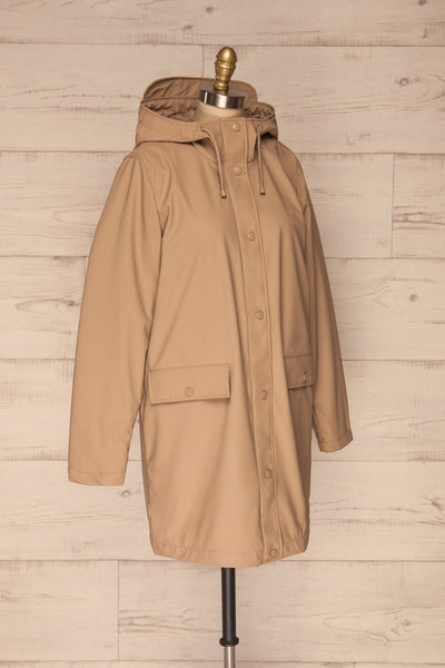 Klodzko Beige Wide Hooded Rain Coat | La petite garçonne side view