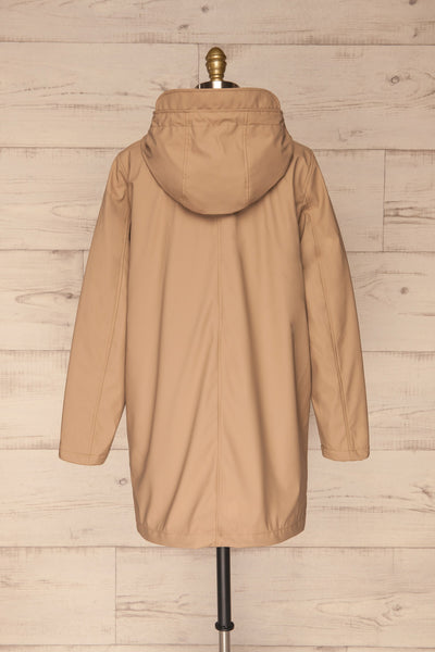 Klodzko Beige Wide Hooded Rain Coat | La petite garçonne back view