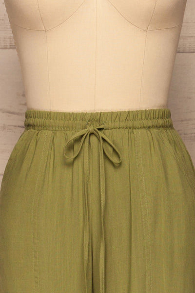 Kmesmi Olive Green High Waist Pants | La petite garçonne  front close-up