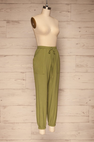 Kmesmi Olive Green High Waist Pants | La petite garçonne  side view