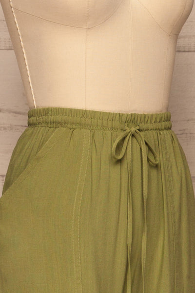 Kmesmi Olive Green High Waist Pants | La petite garçonne  side close-up