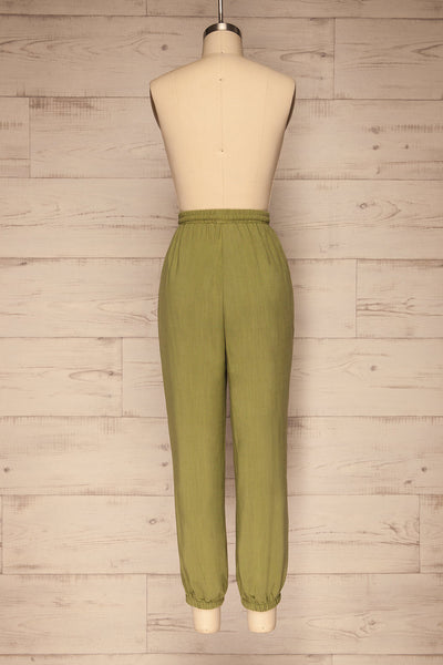 Kmesmi Olive Green High Waist Pants | La petite garçonne  back view