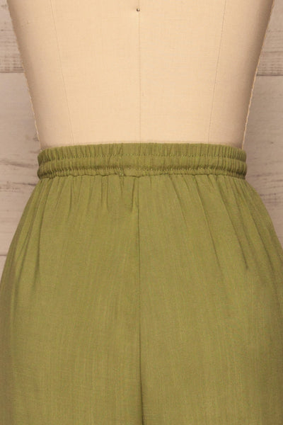 Kmesmi Olive Green High Waist Pants | La petite garçonne  back close-up