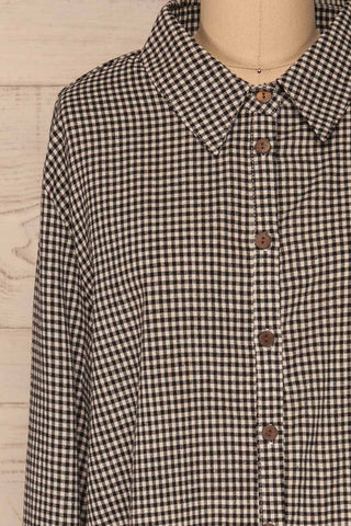 Knurow Black & White Shirt | Chemise front close up | La Petite Garçonne