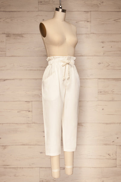 Knyszyn Blanc White High Waist 3/4 Pants side view | La petite garçonne