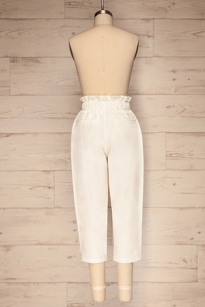 Knyszyn Blanc White High Waist 3/4 Pants back view | La petite garçonne