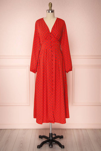 Koko Red Patterned Button-Up A-Line Maxi Dress | Boutique 1861