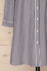 Kolinec White & Charcoal Striped Shirt Dress | La Petite Garçonne