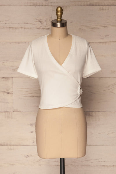 Kordelio White Short Sleeved Wrap Top | La Petite Garçonne 1