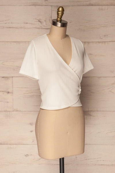Kordelio White Short Sleeved Wrap Top | La Petite Garçonne 3
