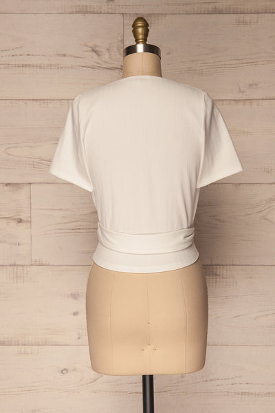 Kordelio White Short Sleeved Wrap Top | La Petite Garçonne 5