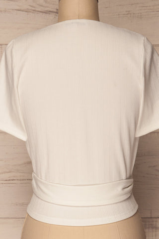Kordelio White Short Sleeved Wrap Top | La Petite Garçonne 6