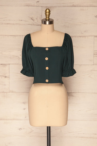 Kostrzyn Forest Green Button-Up Crop Top | La Petite Garçonne front view