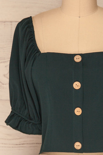 Kostrzyn Forest Green Button-Up Crop Top | La Petite Garçonne front close-up