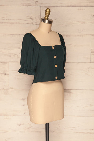 Kostrzyn Forest Green Button-Up Crop Top | La Petite Garçonne side view