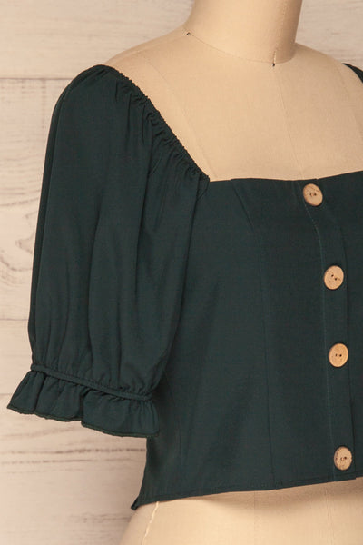 Kostrzyn Forest Green Button-Up Crop Top | La Petite Garçonne side close-up