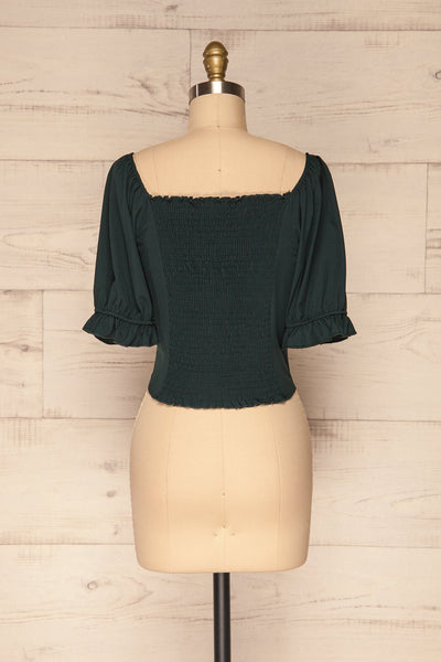 Kostrzyn Forest Green Button-Up Crop Top | La Petite Garçonne back view