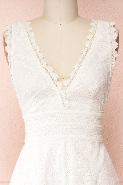 Kotronia White Plunging Neckline Romper | Boutique 1861 front close-up