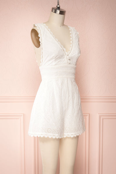 Kotronia White Plunging Neckline Romper | Boutique 1861 side view