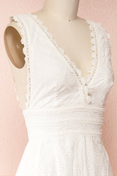 Kotronia White Plunging Neckline Romper | Boutique 1861 side close-up