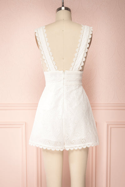 Kotronia White Plunging Neckline Romper | Boutique 1861 back view