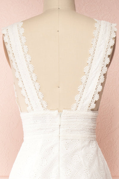 Kotronia White Plunging Neckline Romper | Boutique 1861 back close-up