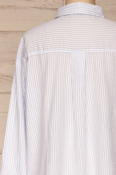 Kouvola Bleu Striped Shirt | Chemisier | La Petite Garçonne back close-up