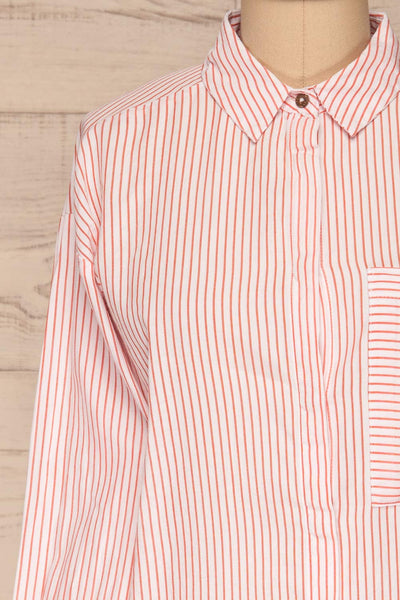 Kouvola Rouge Striped Shirt | Chemisier | La Petite Garçonne front close-up