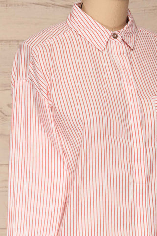 Kouvola Rouge Striped Shirt | Chemisier | La Petite Garçonne side close-up