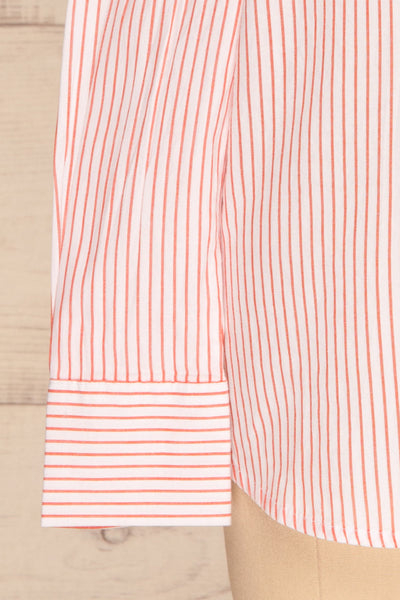 Kouvola Rouge Striped Shirt | Chemisier | La Petite Garçonne bottom close-up