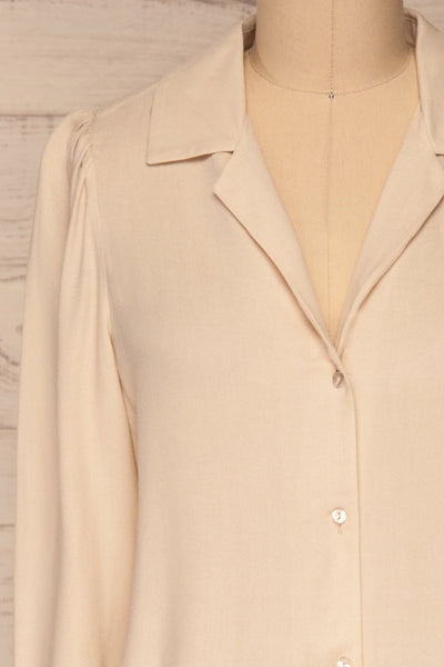 Kovin Cream Long Sleeve Blouse | La petite garçonne front close-up