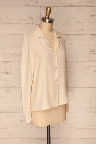 Kovin Cream Long Sleeve Blouse | La petite garçonne side view