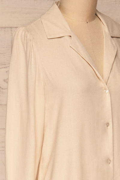 Kovin Cream Long Sleeve Blouse | La petite garçonne side close-up