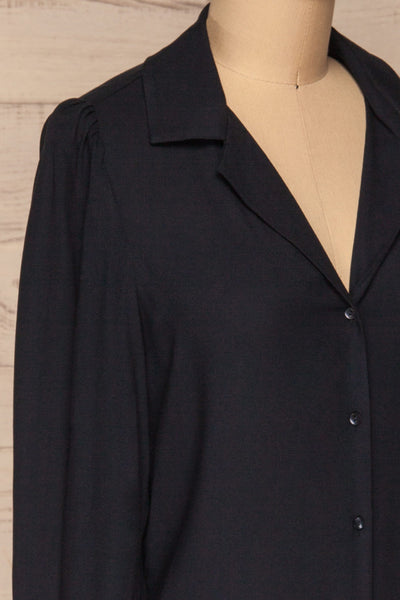 Kovin Navy Long Sleeve Blouse | La petite garçonne side close-up