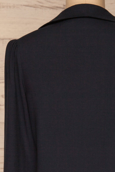 Kovin Navy Long Sleeve Blouse | La petite garçonne back close-up